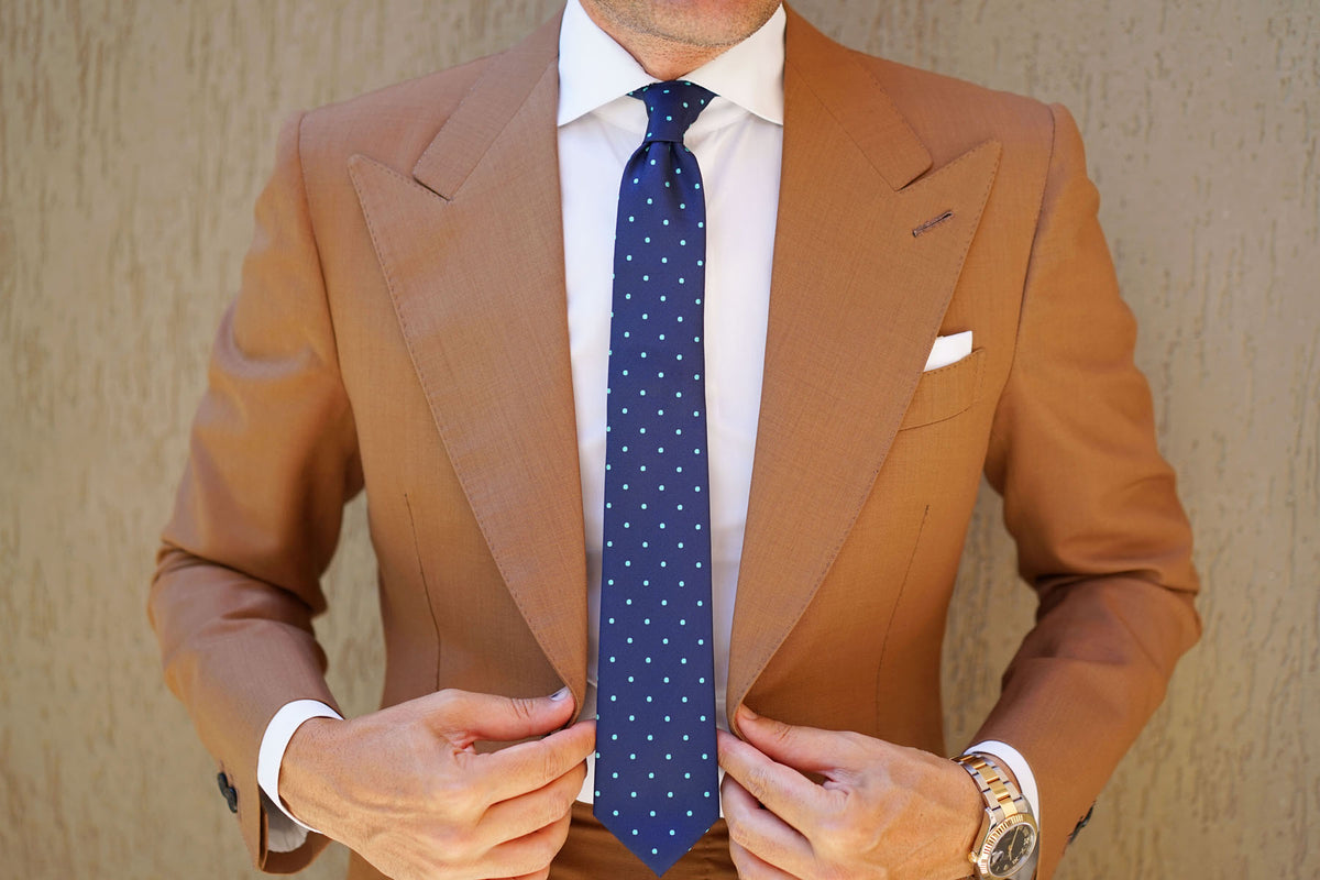 Navy Blue with Mint Green Polka Dots Skinny Tie