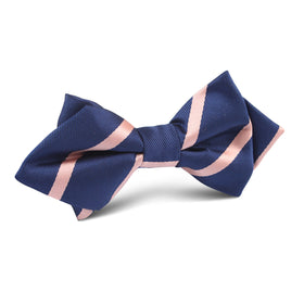 Navy Blue with Peach Stripe Diamond Bow Tie
