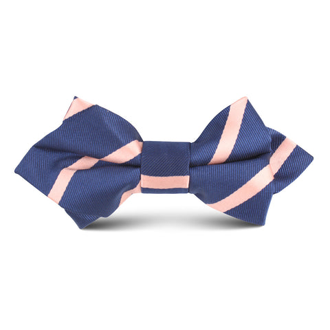 Navy Blue with Peach Stripe Kids Diamond Bow Tie