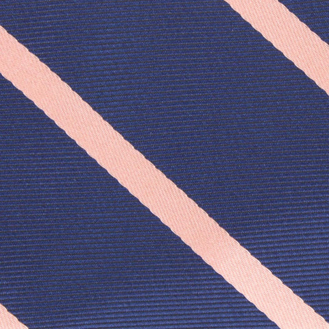 Navy Blue with Peach Stripes Kids Bow Tie