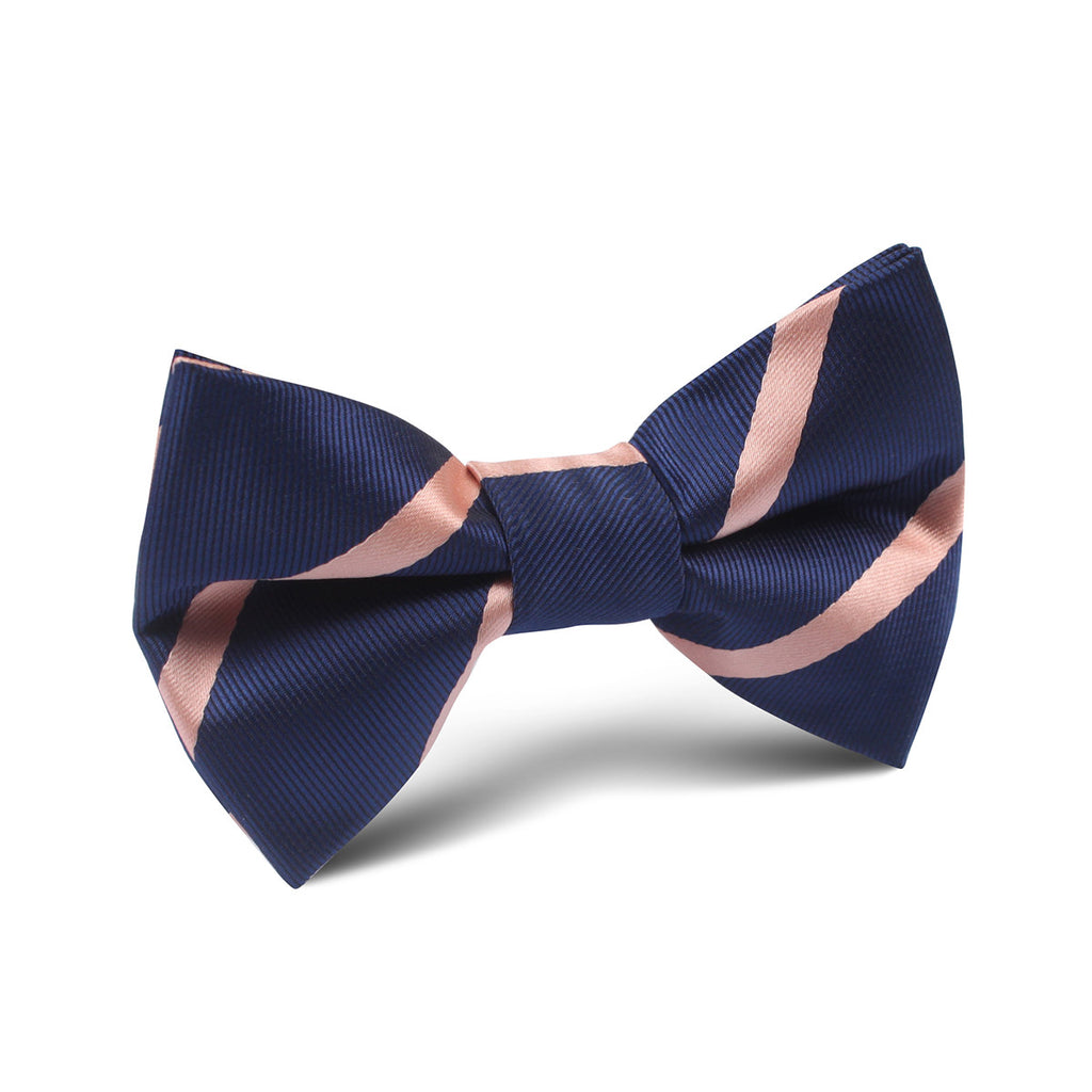 Navy Blue With Peach Stripes Kids Bow Tie Kid Children