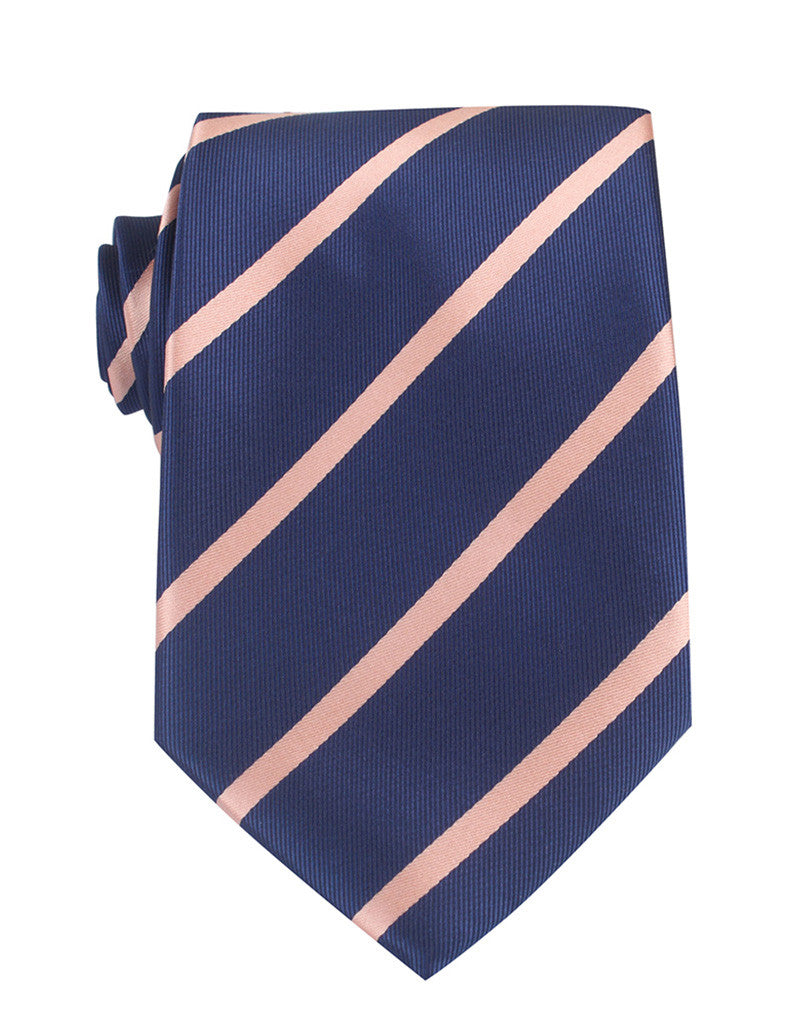 e55a81c62274 Navy Blue with Peach Stripes Necktie | Tie Ties Thick Wide Normal Neckties  | OTAA