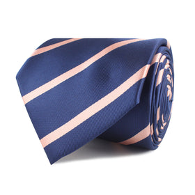 Navy Blue with Peach Stripes Necktie