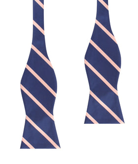 Navy Blue with Peach Stripes Self Tie Bow Tie