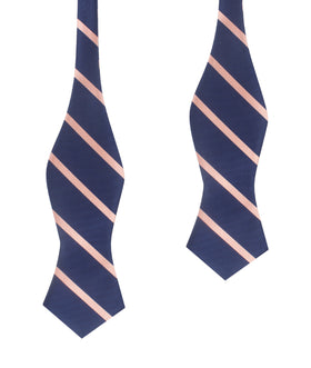 Navy Blue with Peach Stripes Self Tie Diamond Tip Bow Tie