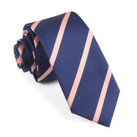 Navy Blue with Peach Stripes Skinny Tie