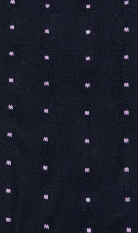 Navy Blue with Pink Dots Cotton-Blend Socks