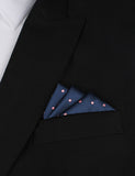 Navy Blue with Pink Polka Dots - Oxygen Three Point Pocket Square Fold
