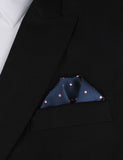 Navy Blue with Pink Polka Dots - Winged Puff Pocket Square Fold
