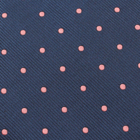 Navy Blue with Pink Polka Dots Kids Bow Tie