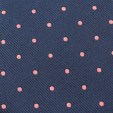 Navy Blue with Pink Polka Dots Fabric Necktie X004