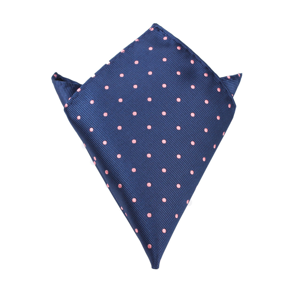 Navy Blue with Pink Polka Dots - Pocket Square