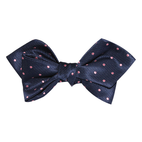 Navy Blue with Pink Polka Dots Self Tie Diamond Tip Bow Tie