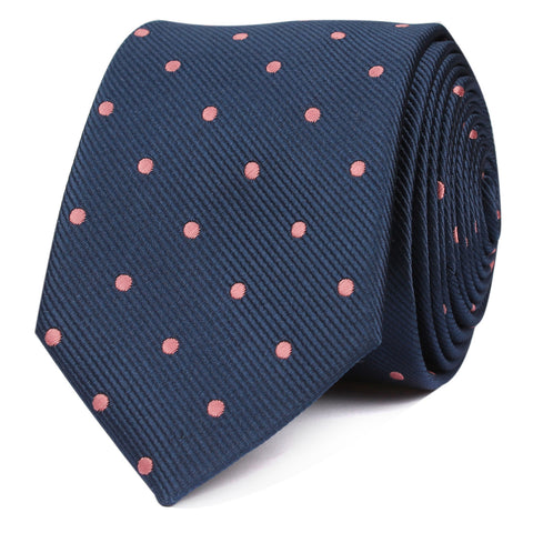 Navy Blue with Pink Polka Dots Skinny Tie