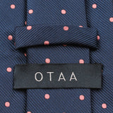 Navy Blue with Pink Polka Dots Tie Back