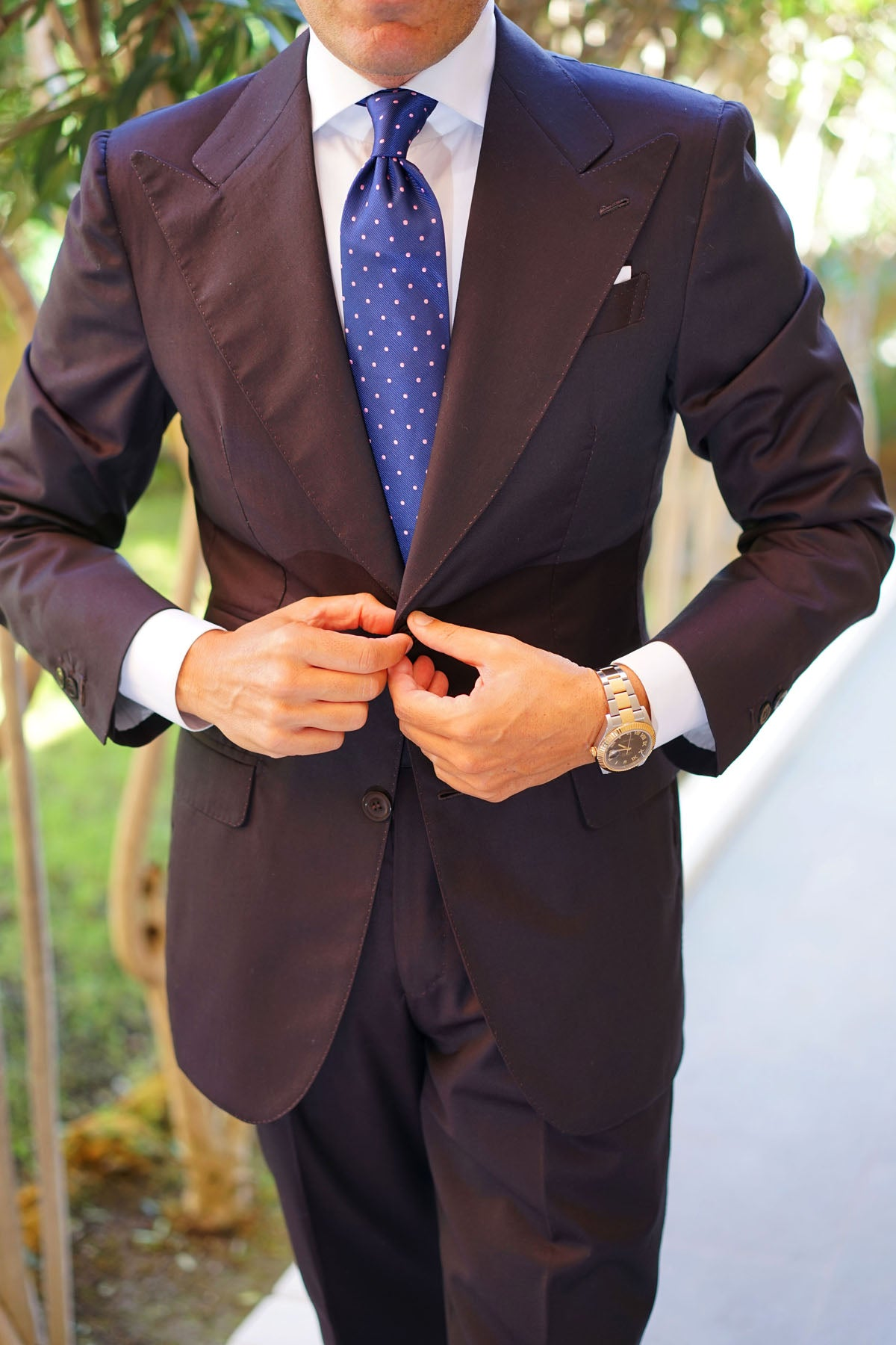 Navy Blue with Pink Polka Dots Tie