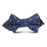 Navy Blue with Pink Polkadot Kids Diamond Bow Tie