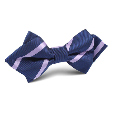 Navy Blue with Purple Stripe Diamond Bow Tie