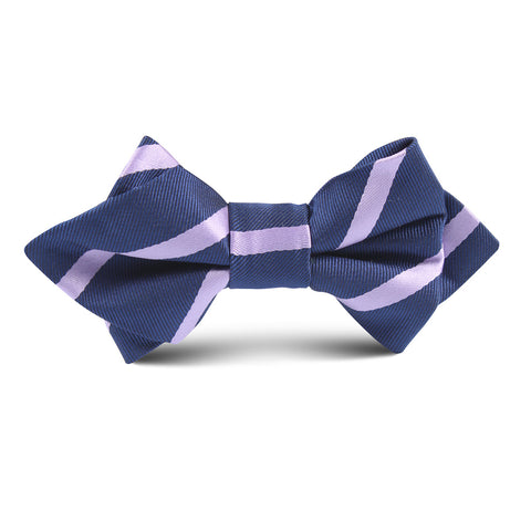 Navy Blue with Purple Stripe Kids Diamond Bow Tie
