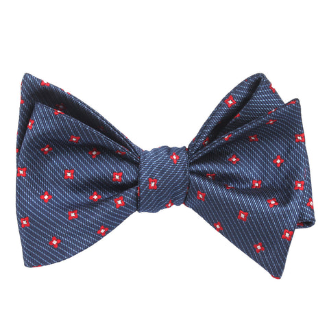 Navy Blue with Red Pattern - Bow Tie (Untied)