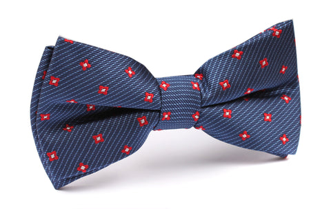 Navy Blue with Red Pattern - Bow Tie