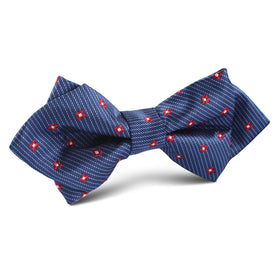 Navy Blue with Red Pattern Diamond Bow Tie