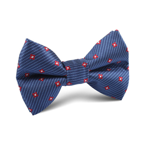 Navy Blue with Red Pattern Kids Bow Tie