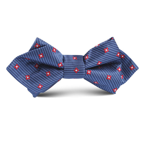 Navy Blue with Red Pattern Kids Diamond Bow Tie