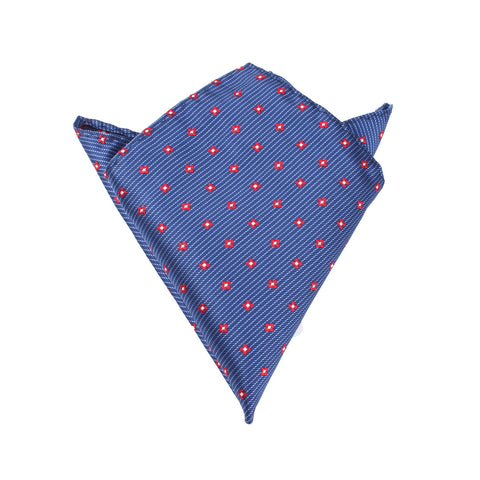 Navy Blue with Red Pattern - Pocket Square