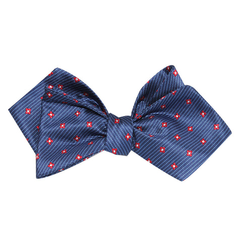 Navy Blue with Red Pattern Self Tie Diamond Tip Bow Tie