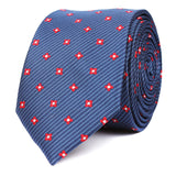 Navy Blue with Red Pattern Skinny Tie OTAA roll