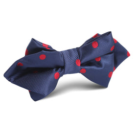 Navy Blue with Red Polka Dots Diamond Bow Tie