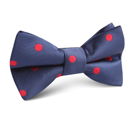 Navy Blue with Red Polka Dots Kids Bow Tie