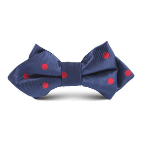 Navy Blue with Red Polkadot Kids Diamond Bow Tie