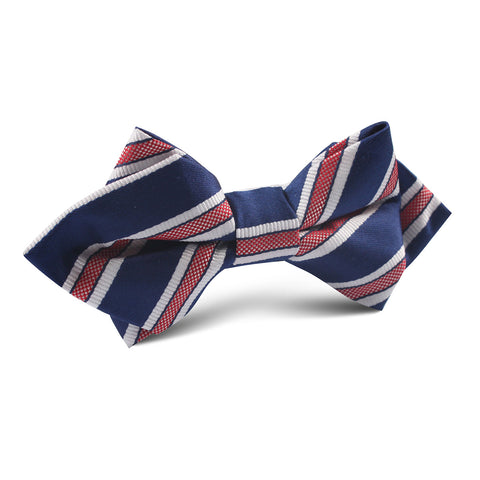 Navy Blue with Red Stripes Diamond Bow Tie