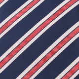 Navy Blue with Red Stripes Fabric Skinny Tie X044