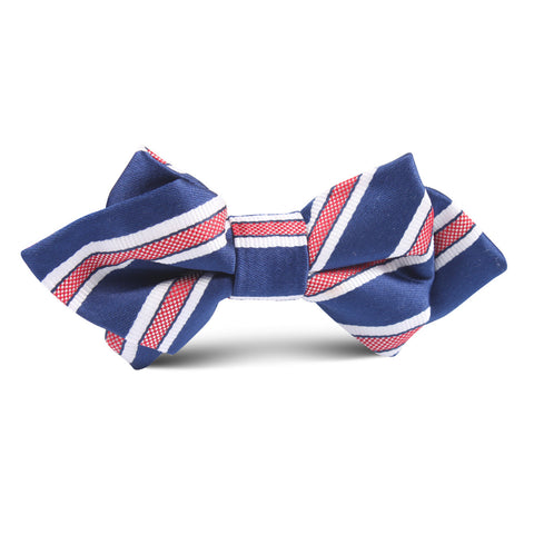 Navy Blue with Red Stripes Kids Diamond Bow Tie