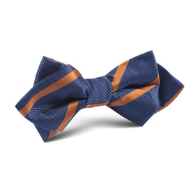 Navy Blue with Striped Brown Diamond Bow Tie