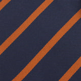 Navy Blue with Striped Brown Fabric Self Tie Bow Tie X374