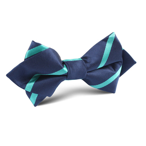 Navy Blue with Striped Light Blue Diamond Bow Tie