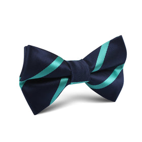 Navy Blue with Striped Light Blue Kids Bow Tie