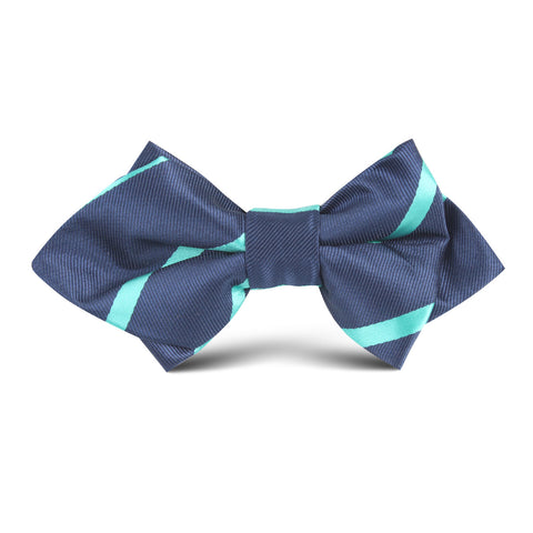 Navy Blue with Striped Light Blue Kids Diamond Bow Tie