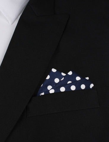 Navy Blue with White Large Polka Dots Cotton Pocket Square