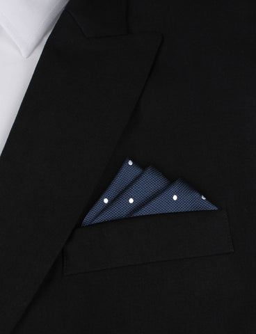 Navy Blue with White Polkadots - Pocket Square