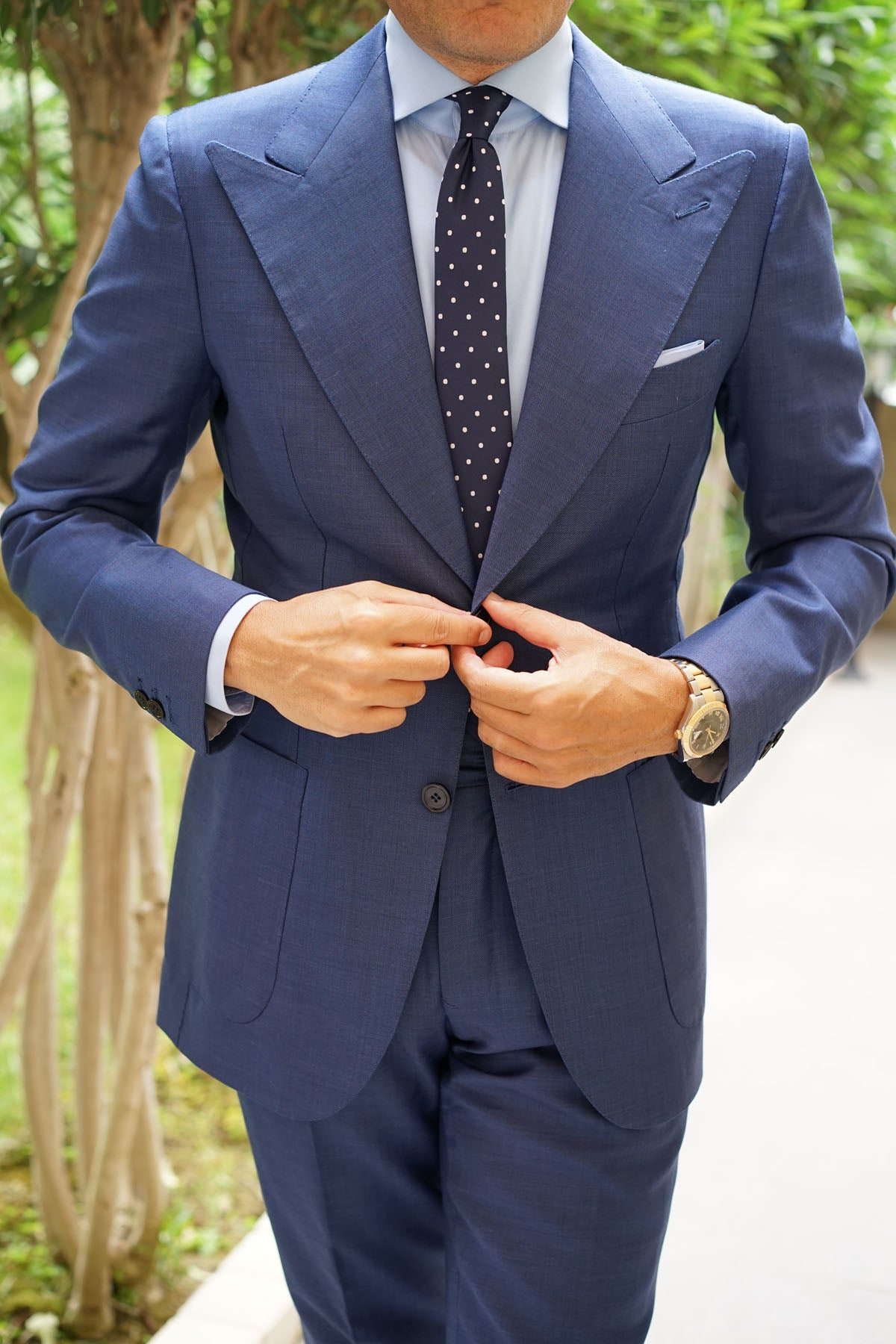 Navy Blue with White Polka Dots - Skinny Tie