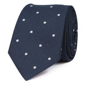 Navy Blue with White Polka Dots Skinny Tie