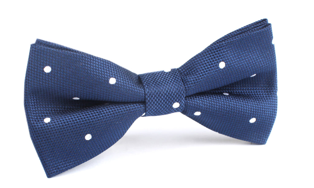 Navy Blue with White Polkadots - Bow Tie