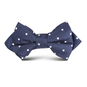 Navy Blue with White Polka Dots Kids Diamond Bow Tie