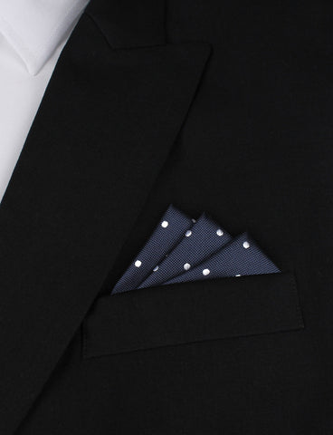 Navy Blue with White Polka Dots - Pocket Square
