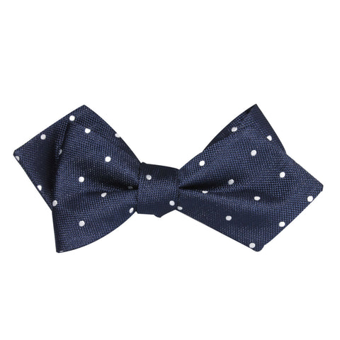 Navy Blue with White Polka Dots Self Tie Diamond Tip Bow Tie